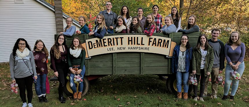 A group of students at Demerrit Hill Farm