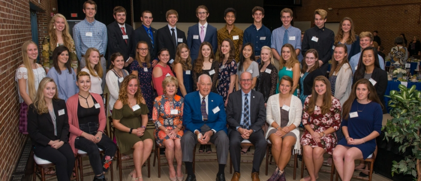 Photo of First-Year Hamel Scholars with President Dean & Dana Hamel