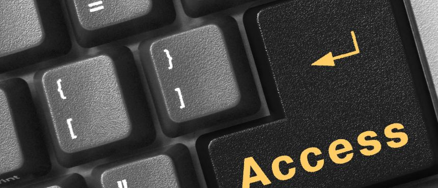 "keyboard with the word ""access"" on return key"