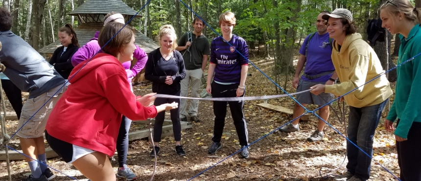 Photo of Hamel Scholars doing ropes course activities