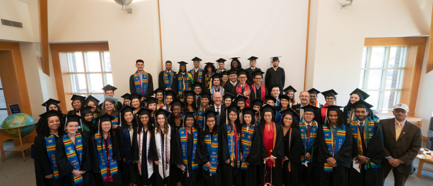 A photograph of the many graduates who attended the 2019 Commencement Reception.