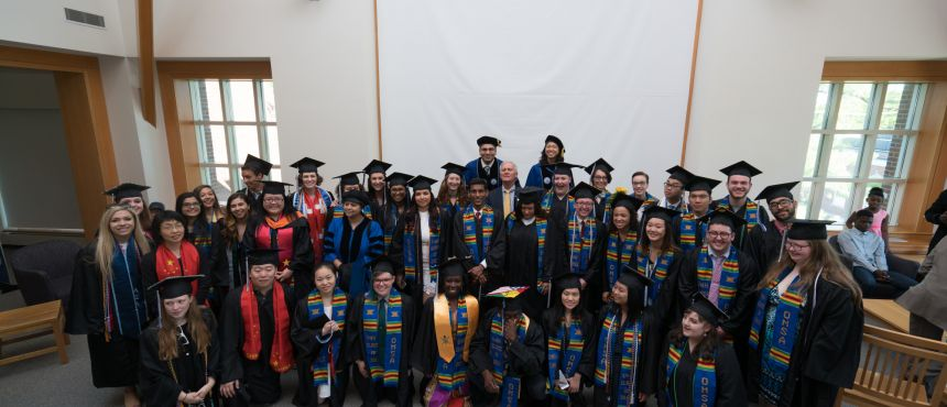 A photograph of the many graduates who attended the 2017 Commencement Reception.