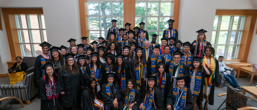 A photograph of the many graduates who attended the 2018 Commencement Reception.