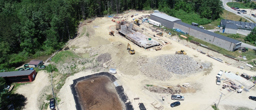 Drone Image of the Water Treatment Plant a collaboration between UNH and the Town of Durham
