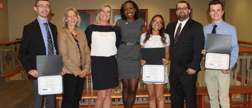2018 Donovan Scholarship Recipients with UNH TRIO Staff