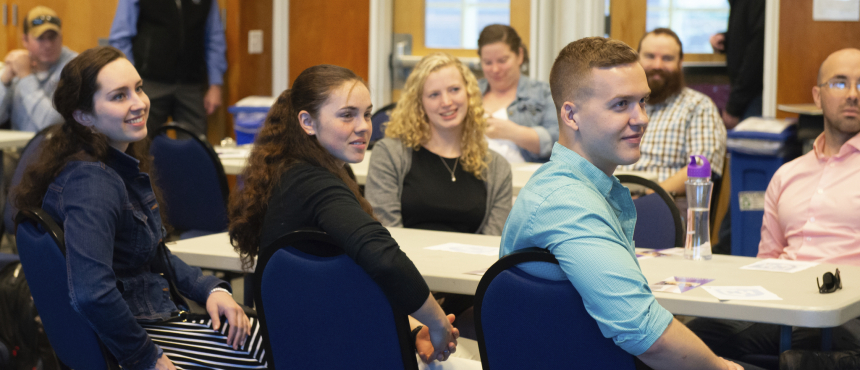 UNH Military-Affiliated students listen to Beth Fisher, 2019 Graduation Luncheon Keynote Speaker.
