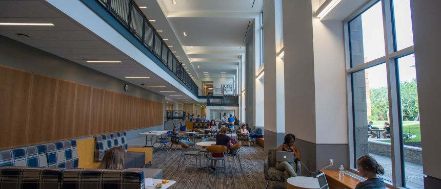 A photograph of students lounging in Hamilton Smith Hall.
