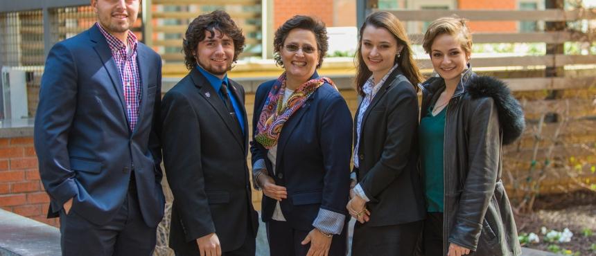 UNH interns meet with their campus liaison in DC