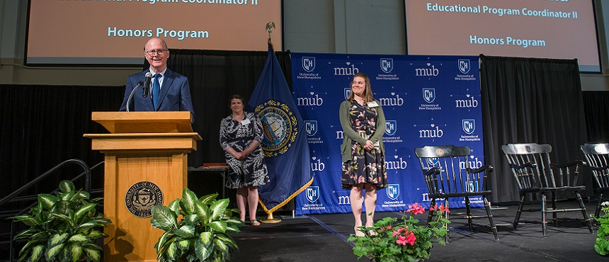 Kristen Butterfield from the Honors Program receives the Presidential Award of Excellence at UNH.