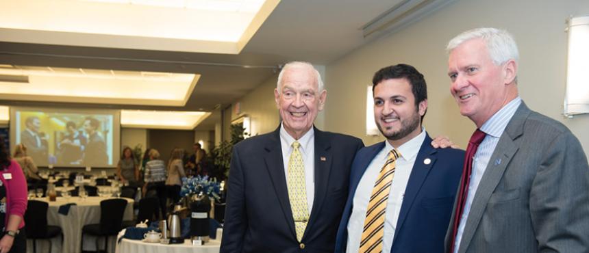 USNH Board Representative Christian Merheb with UNH President Huddleston and Mr. Dana Hamel