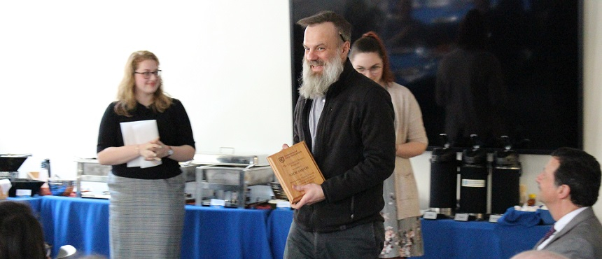 Professors Nick Smith (pictured) and Mao Chen received faculty awards at this years Honors Faculty Thank You Luncheon.