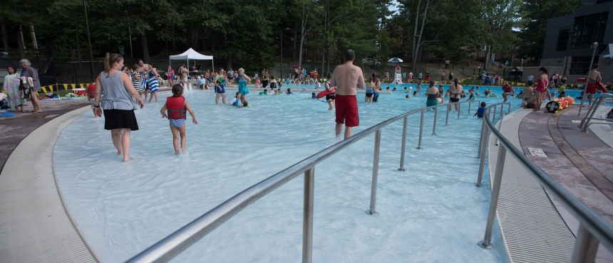 A photograph of the UNH Outdoor Pool access ramp.