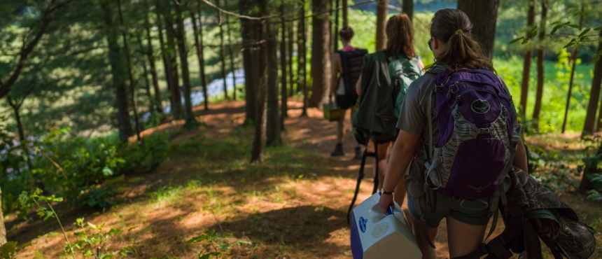 Students hike down hill off campus for research in the summer.