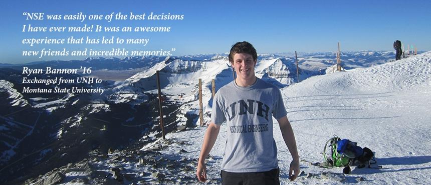 UNH student on ski mountain in Montana