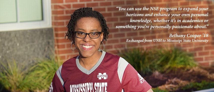 UNH student wearing shirt from Mississippi State