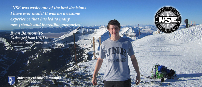 UNH student on ski slope in Montana