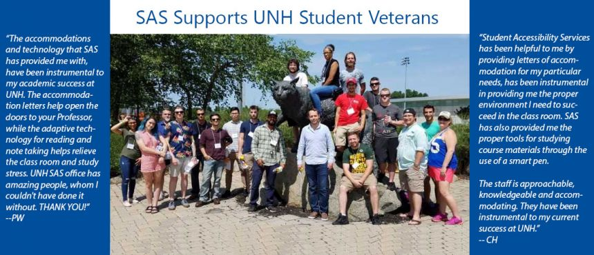 Group photo of student veterans with Wildcat statue