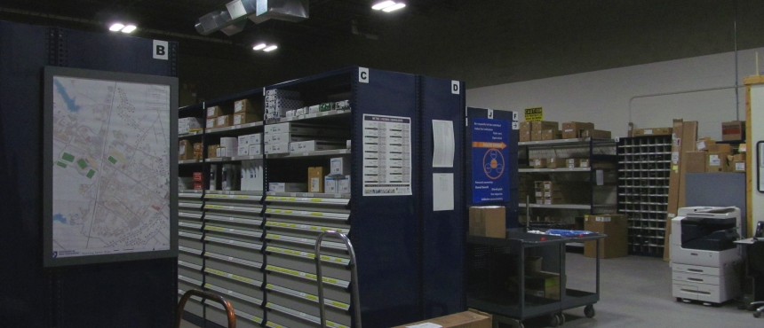 UNH Facilities Warehouse which serves the campus by stocking items that are needed at a moment's notice