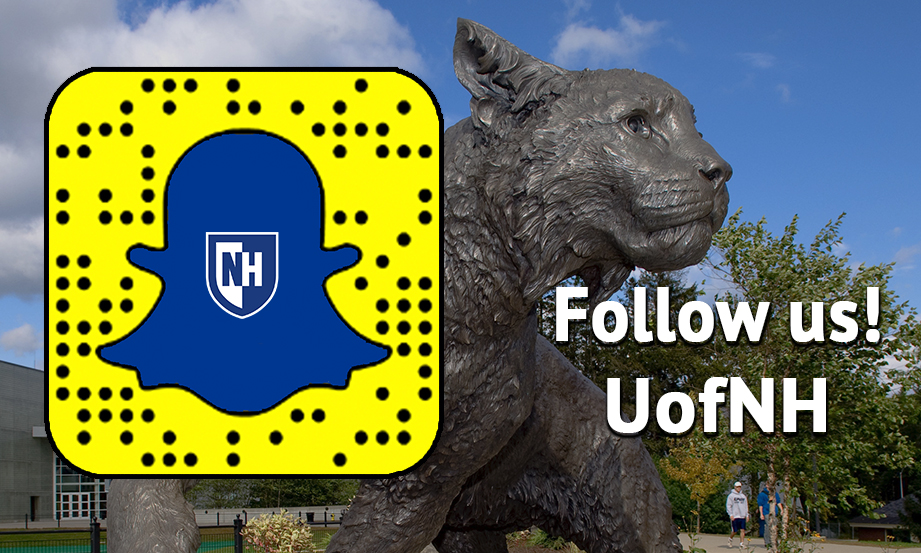 Are you following UofNH on Snapchat yet? Here's how: 1. On your mobile device, take a screen grab of this image.  2. Open Snapchat  3. Go to Add Friends  4. Tap Add by Snapcode  5. Tap the image with the Snapcode to add us.  Happy snapping, Wildcats!