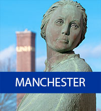 UNH Manchester statue of woman