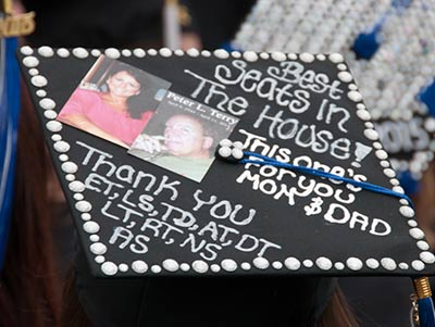 close up of decorated mortar board at Commencement