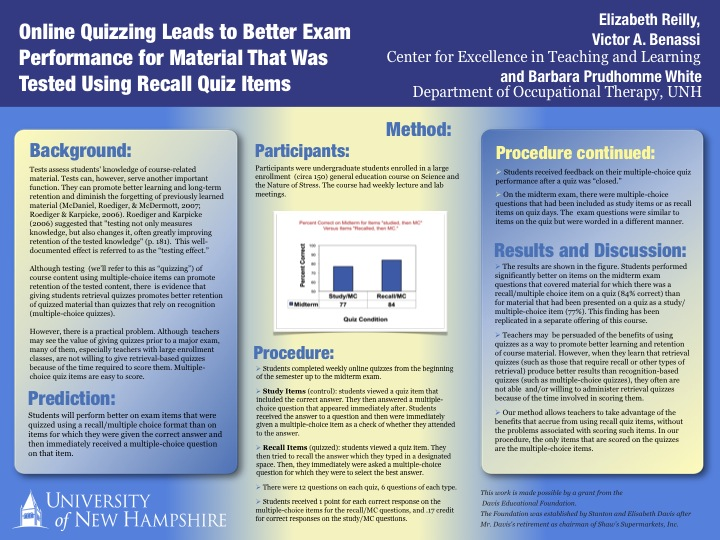 Poster explaining purpose, methods and results of project comparing quizzes with multiple choice versus recall questions on exam performance (with link to printable PDF version)