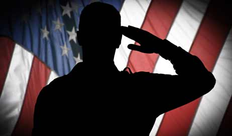 Veteran saluting the U.S. Flag