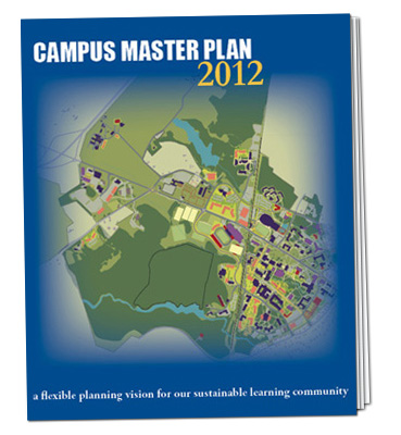 Cover of the UNH Campus Master Plan featuring a colored map of campus