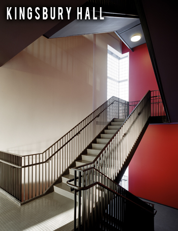 Image of Kingsbury Hall Stairwell featuring a red accent wall