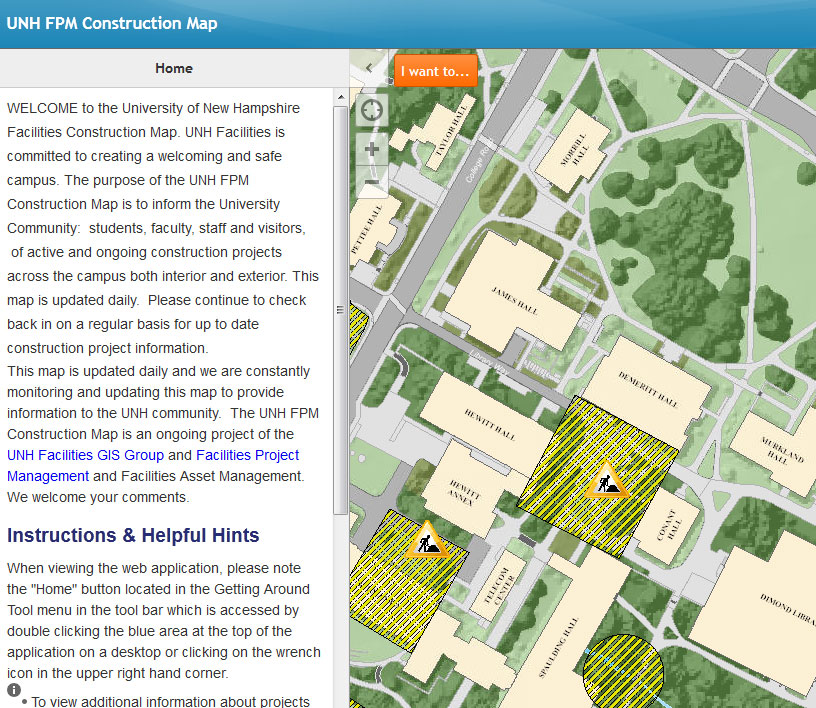 Screenshot of Campus Construction Map web page