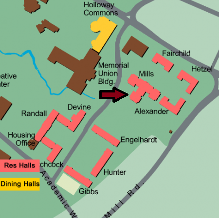 Image of partial map of UNH Campus with a red arrow indicating the location of the Office of Community Standards in Mills Hall