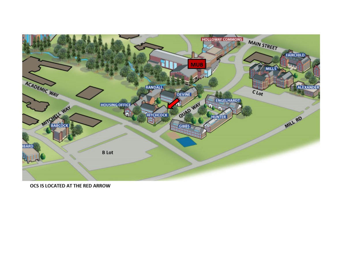 Image of partial map of UNH Campus with a red arrow indicating the location of the Office of Community Standards in Hitchcock Hall