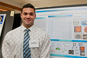 An honors student presents his thesis at the Undergraduate Research Conference