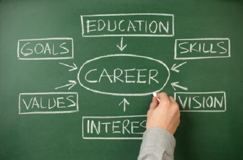 Chalkboard with career search mind-map