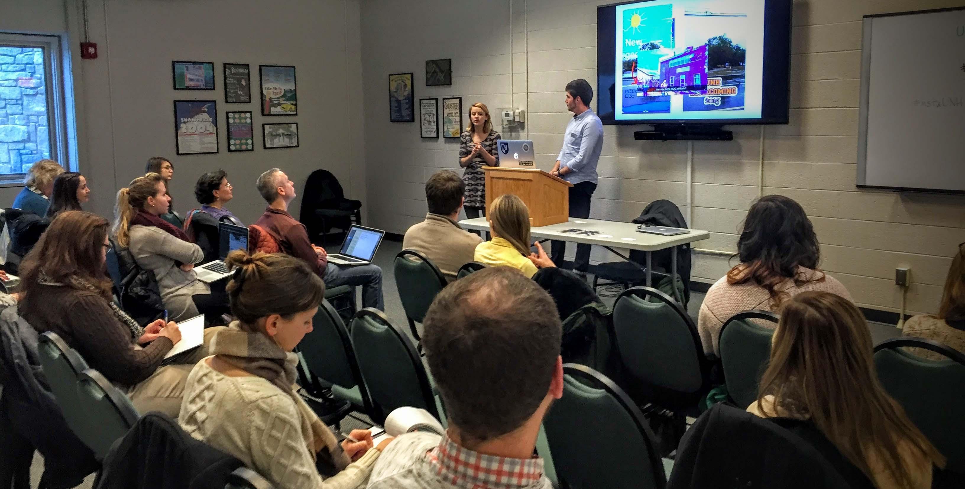 UNH Social Interns Speak at a recent meet-up.