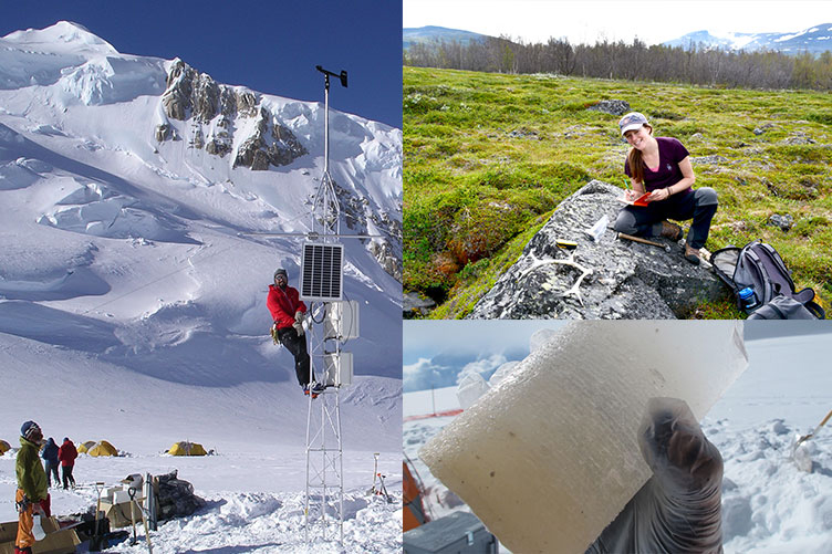 Researchers in cold-weather gear at a snowy site in Alaska and in a field in Sweden, and a picture of an ice core section.