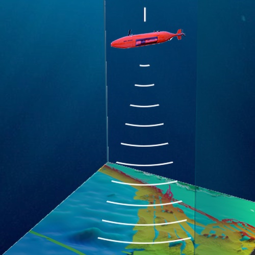 """Illustration of a submarine """"beaming"""" sound to the ocean floor"""