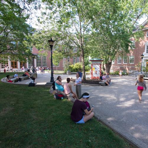 UNH's library courtyard
