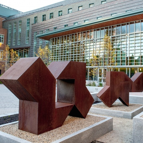 Abstract sculptures in Paul College courtyard