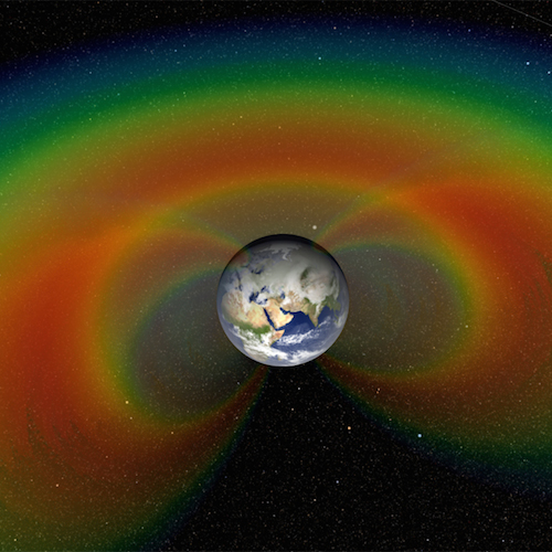 Van Allen radiation belts represented as colorful bands around Earth