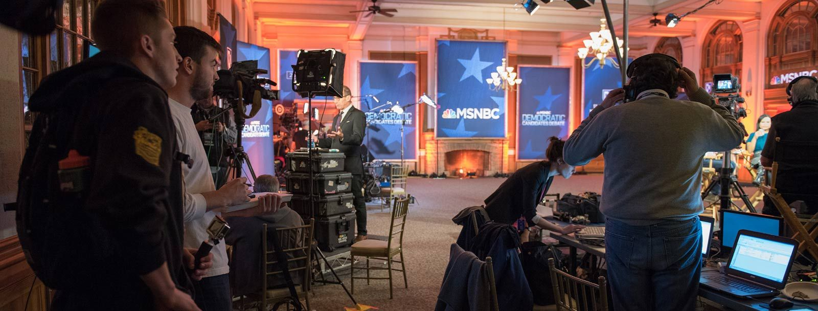 UNH student journalists in spin room during Democratic debate Feb. 2016