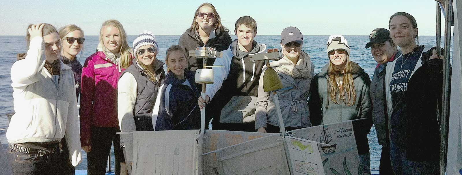 "UNH marine biology students launch their ""drifters"" into the Gulf of Maine"