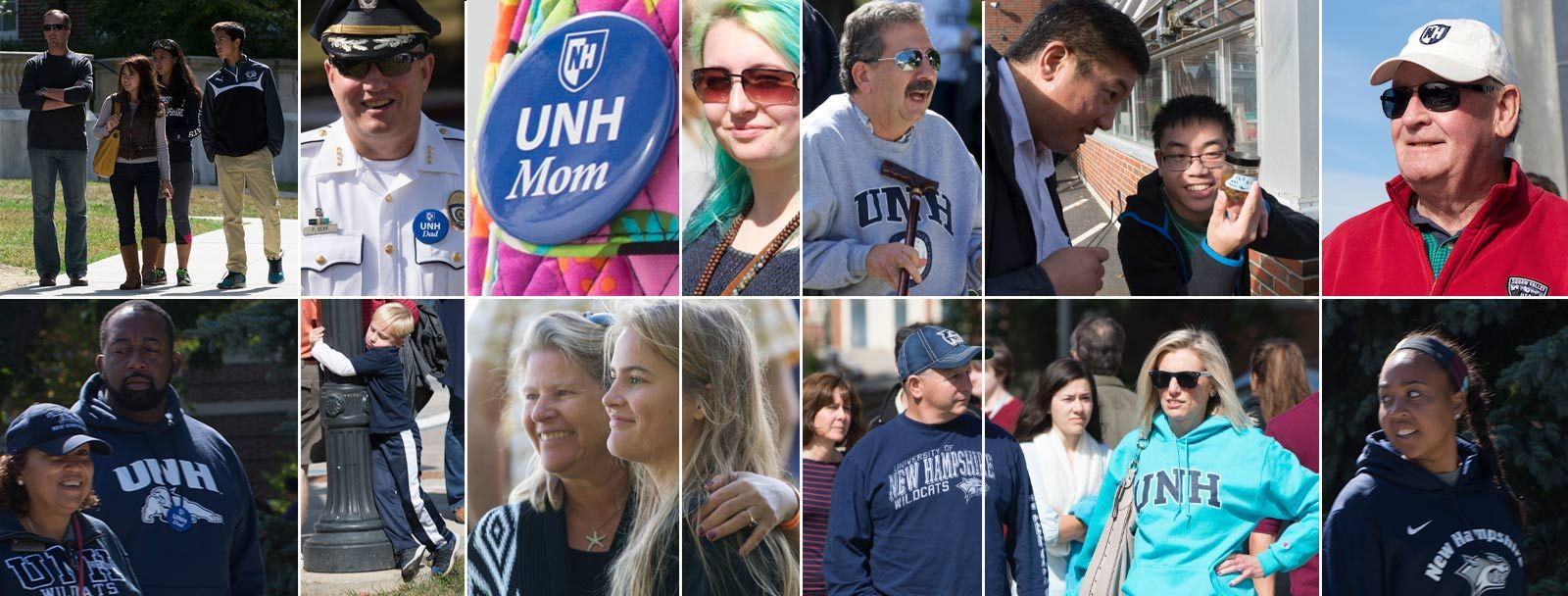 A montage of faces from UNH Family weekend.