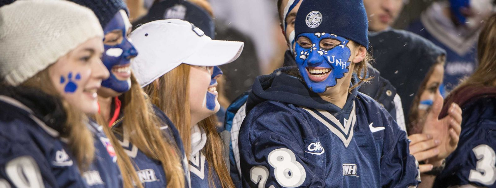 UNH students cheer on their #1 ranked Wildcat football team, fall 2014
