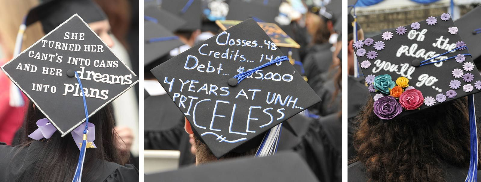 The mortarboards of UNH commencement 2015