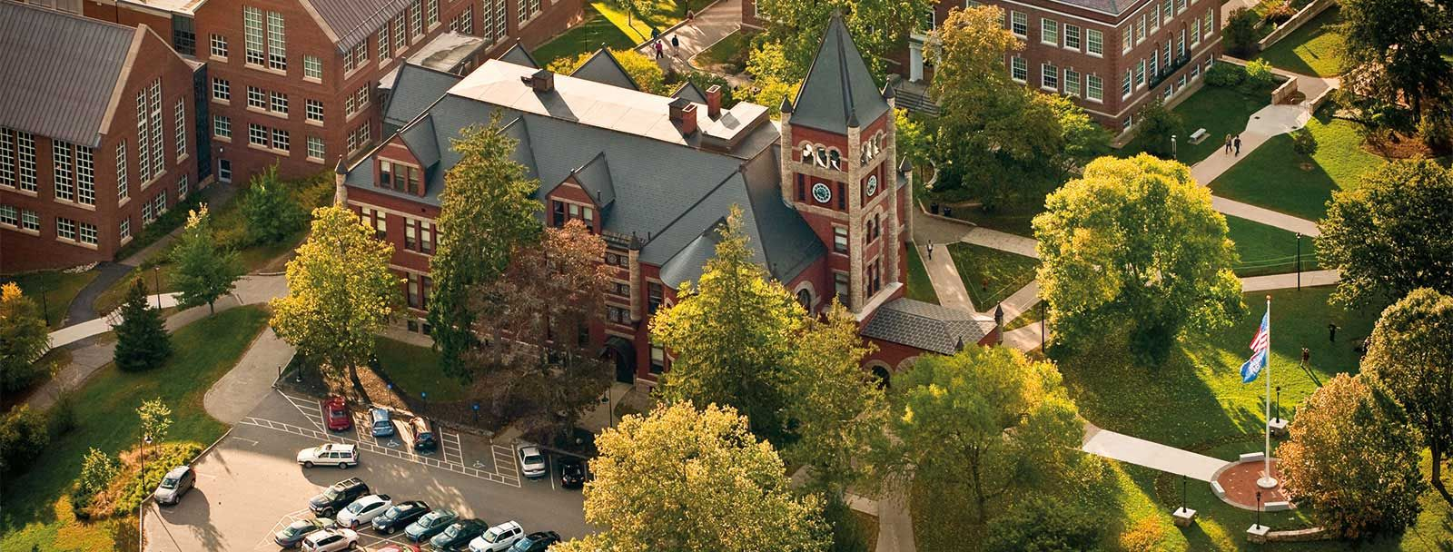 Aerial view of heart of UNH campus