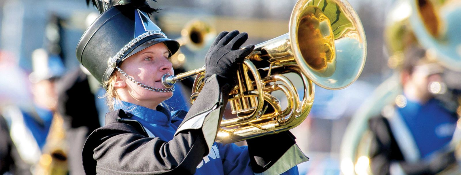 A trumpet player from the WIldcat Marching Band