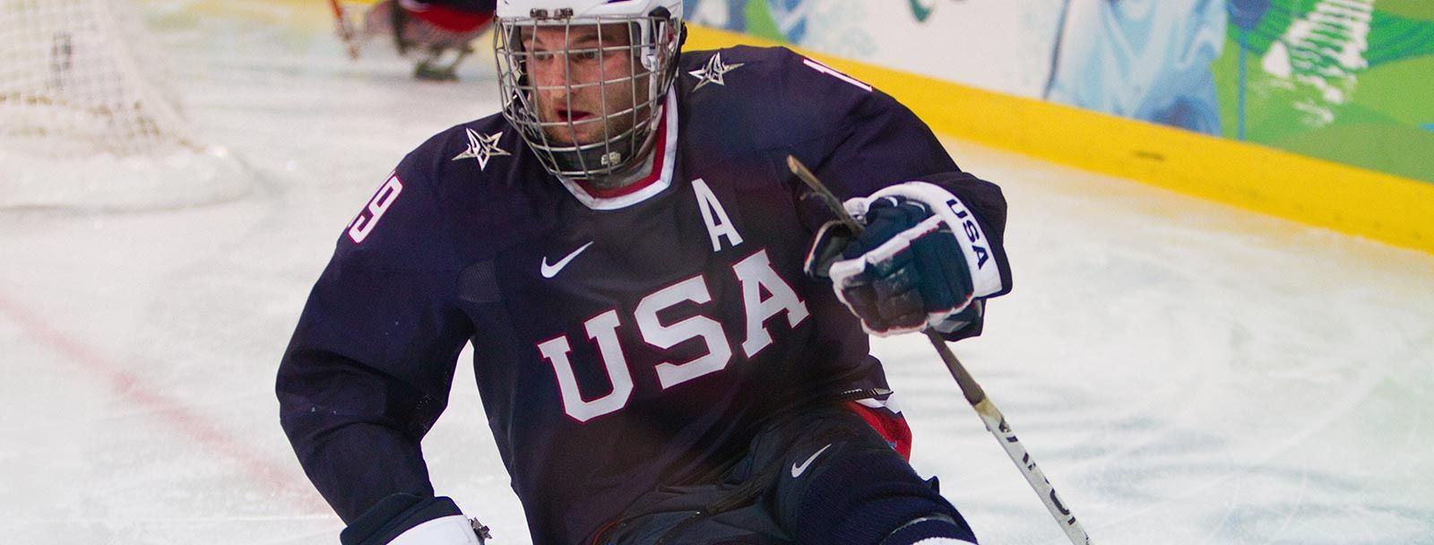 Taylor Chace competing for the US Sled Hockey Team