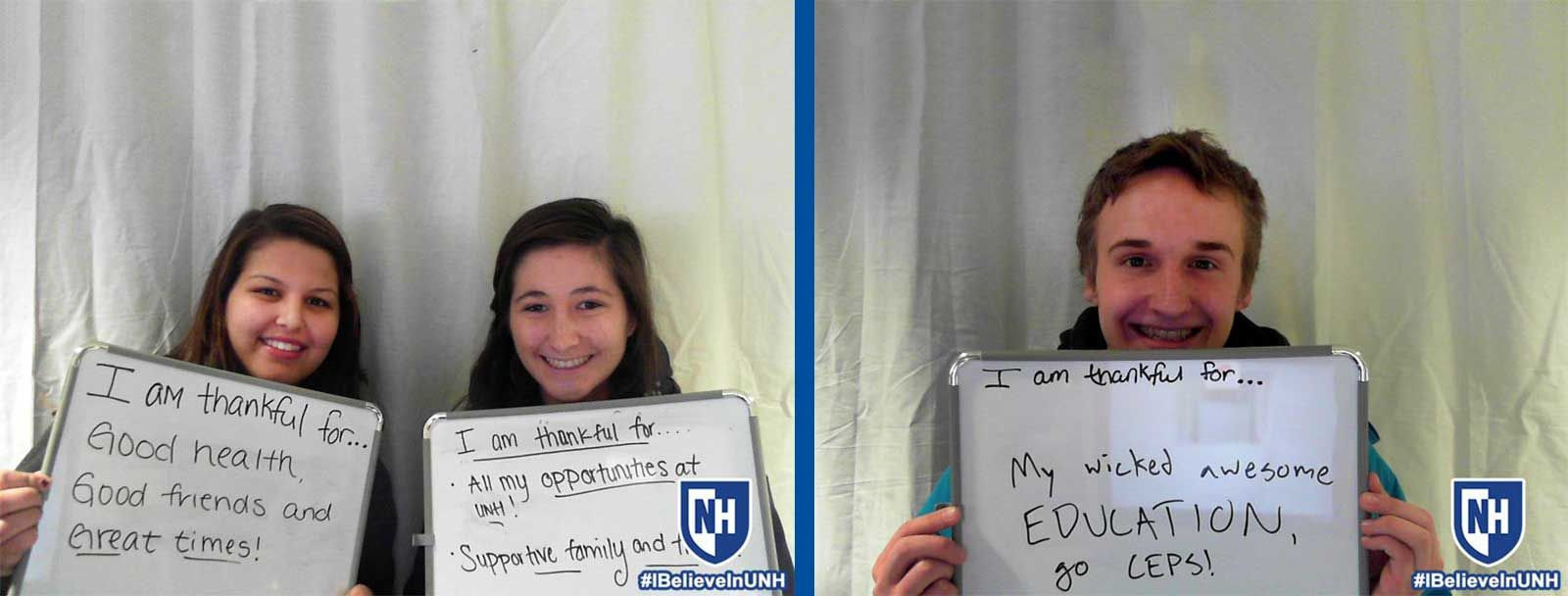UNH students give thanks in photo booth