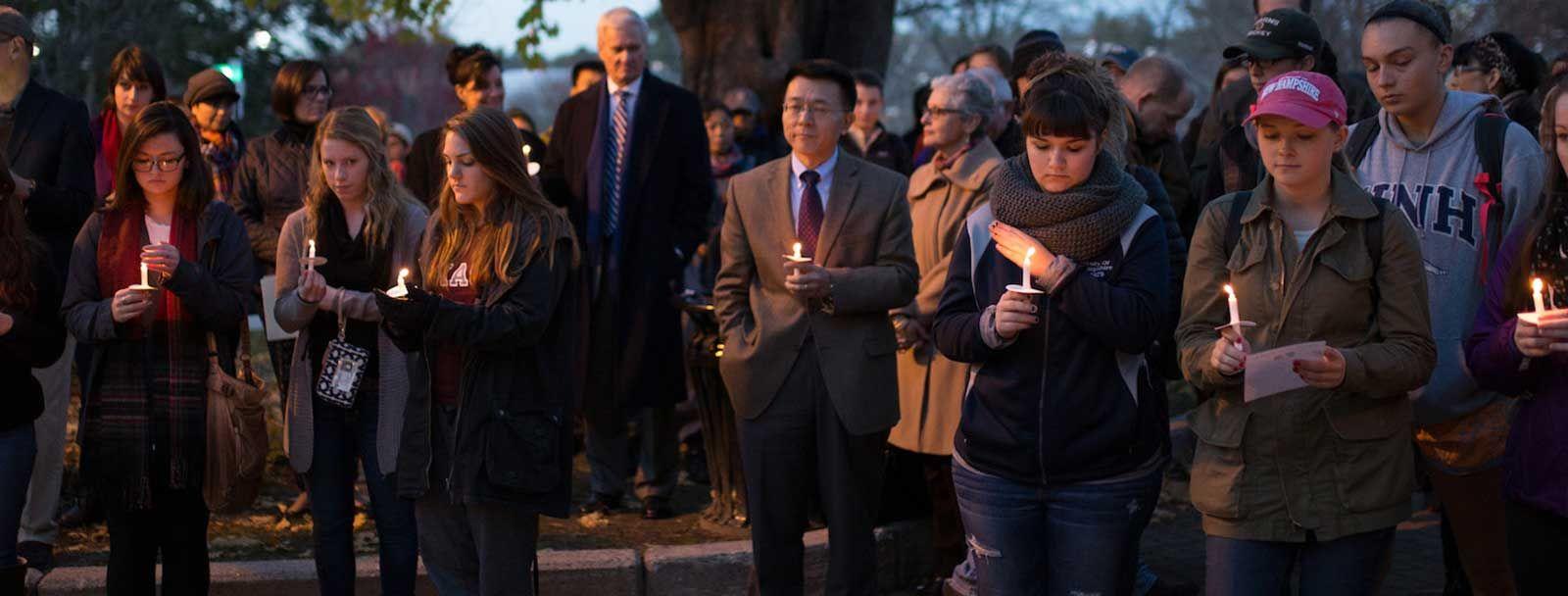 A vigil at UNH, November 2015